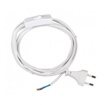 захранващ кабел с ключ и щепсел, vivalux, бял, 2х0,75, 2,5а, 001646