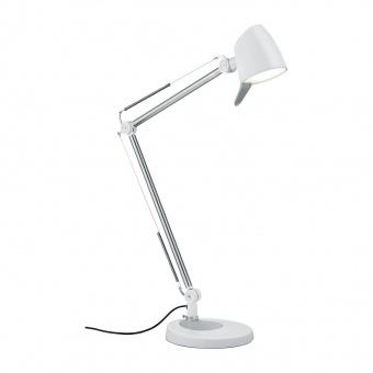 метална работна лампа, white matt, trio, rado, led 1x5w, 3000k-4000k-5000k, 550lm, 527690131