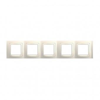 петорна рамка, слонова кост, schneider, unica basic, mgu2.010.25
