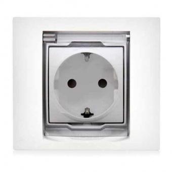 контактен излаз шуко със защита и капак, ip 44, бял, schneider, unica, mgu61.037.18