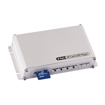 контролер за дигитални светодиодни модули и ленти, ultralux, 5-24v, sd card, 8 ports, sdc8