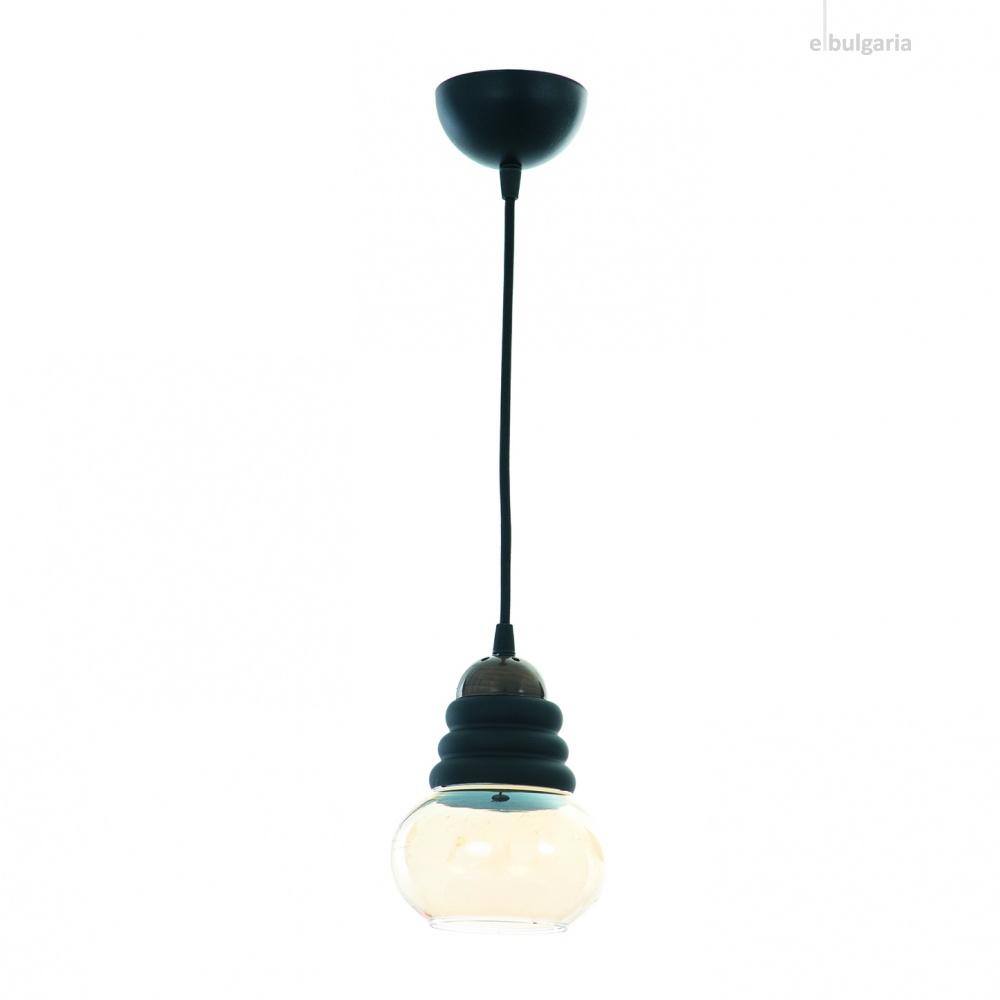 стъклен пендел, бронз, elbulgaria, 1x40w, 1355-21-01 br