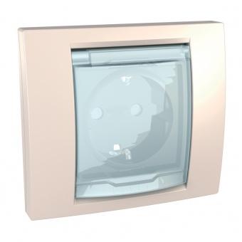контактен излаз шуко със защита и капак, ip 44, слонова кост, schneider, unica, mgu61.037.25