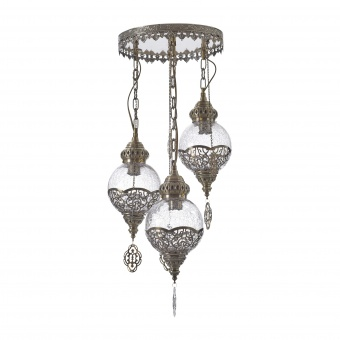 стъклен полилей, бронз, elbulgaria, 3x40w, 1525/3 qg