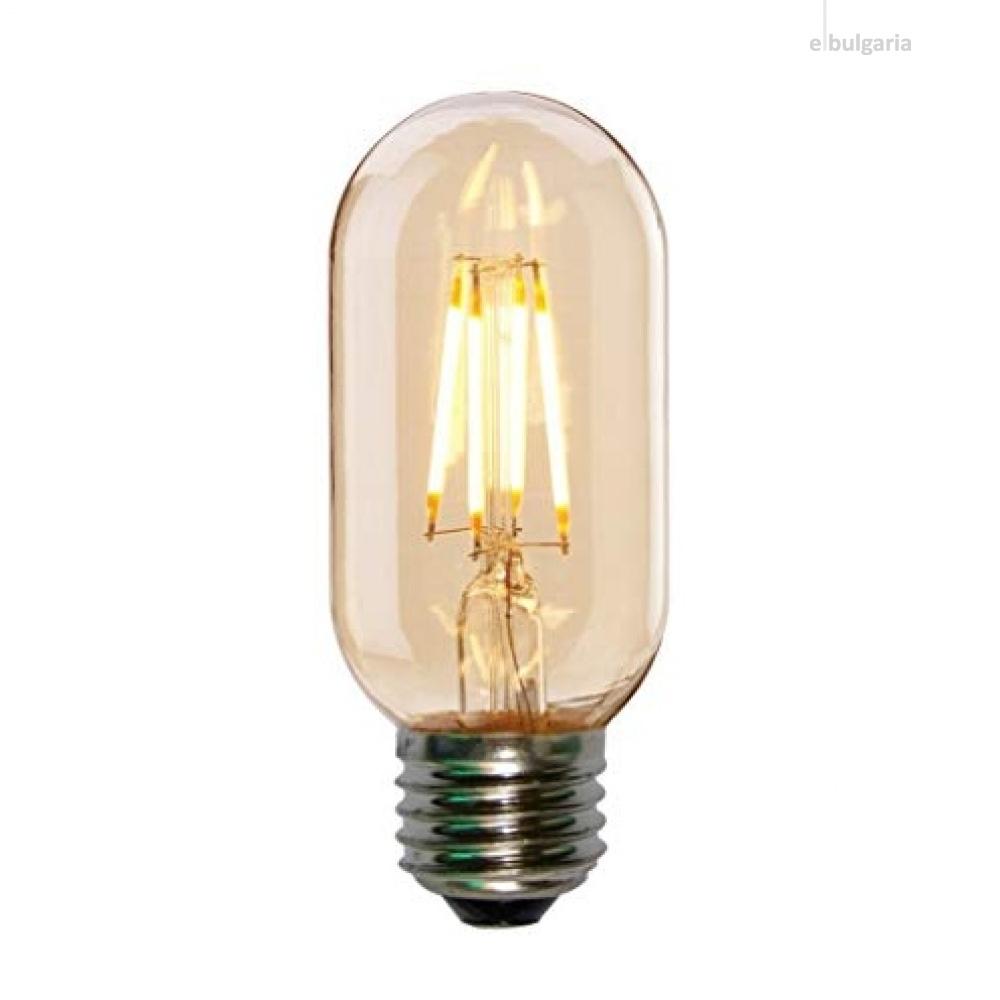 led лампа 4w, e27, топла светлина, 2700k, led lamp filament t45 smoke