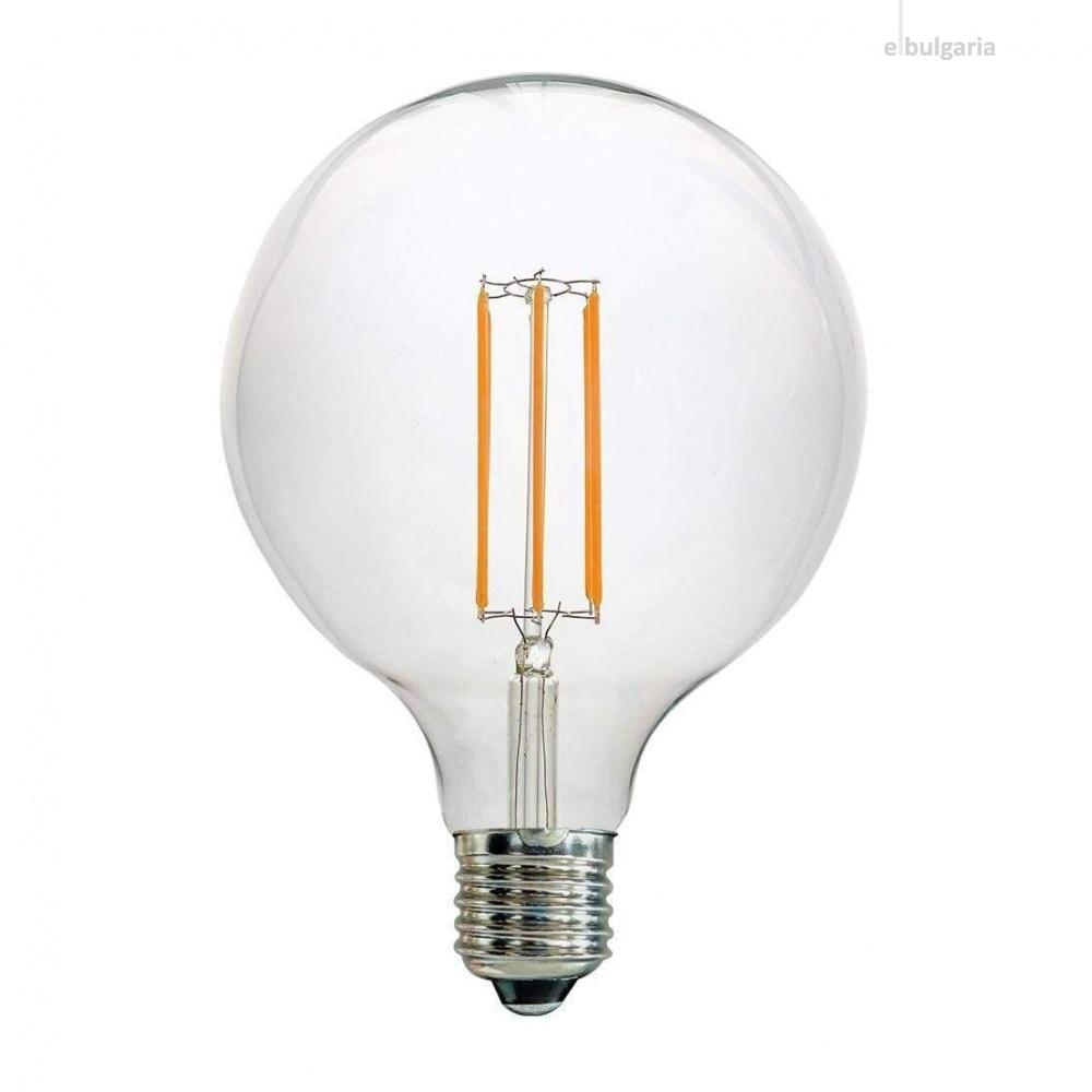 led лампа 7w, e27, топла светлина, 2700k, 800lm, led lamp filament g125, L020207340