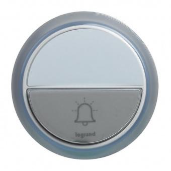 бутон за звънец, бял, standart, ip44, за безжичен /94252,53 и 54/, 100m, legrand, 94278
