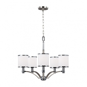 стъклен полилей, satin nickel/chrome, elstead lighting, prospect park, 5x60w, fe/prospectpk5
