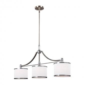 стъклен полилей, satin nickel/chrome, elstead lighting, prospect park, 3x60w, fe/prospectpk/3p