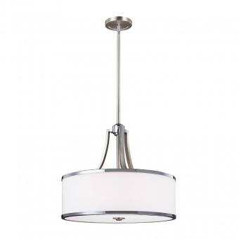 стъклен полилей, satin nickel/chrome, elstead lighting, prospect park, 4x60w, fe/prospectpk/4p