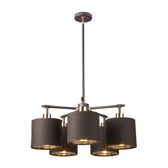текстилен полилей, brown/polished brass, elstead lighting, balance, 5x60w, balance5 brpb