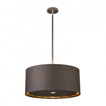 текстилен пендел, brown/polished brass, elstead lighting, balance, 1x60w, balance/p brpb