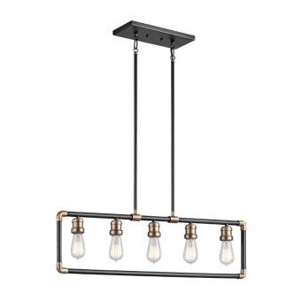 метален полилей, black/natural brass, elstead lighting, imahn, 5x60w, kl/imahn/isle