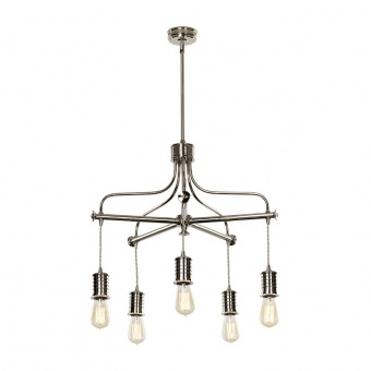 метален полилей, polished nickel, elstead lighting, douille, 5x60w, douille5 pn