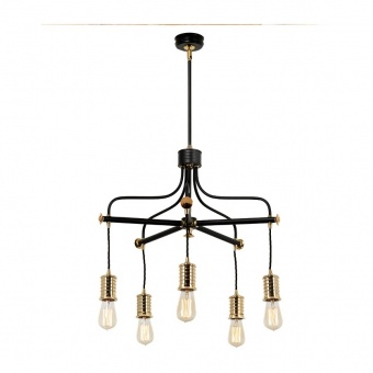 метален полилей, black/polished brass, elstead lighting, douille, 5x60w, douille5 bpb