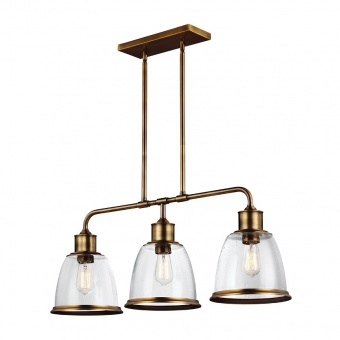 стъклен полилей, aged brass, elstead lighting, hobson, 3x75w, fe/hobson/3p ab