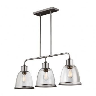 стъклен полилей, satin nickel, elstead lighting, hobson, 3x75w, fe/hobson/3p sn
