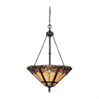 стъклен полилей, vintage bronze, elstead lighting, cambridge, 3x100w, qz/cambridge/p