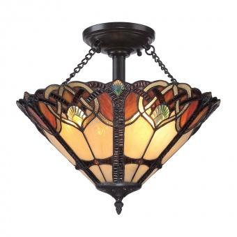 стъклен полилей, vintage bronze, elstead lighting, cambridge, 2x100w, qz/cambridge/sf
