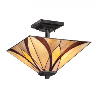 стъклен полилей, valiant bronze, elstead lighting, asheville, 2x100w, qz/asheville/sf