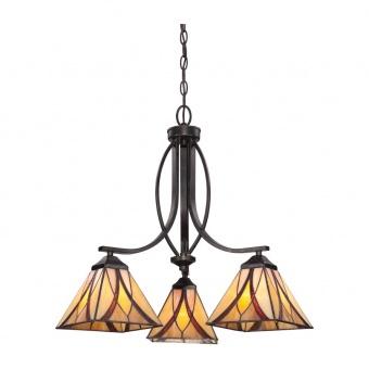 стъклен полилей, valiant bronze, elstead lighting, asheville, 3x60w, qz/asheville3