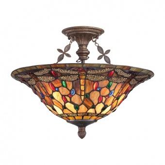 стъклен полилей, malaga, elstead lighting, ceiling lights, 3x100w, qz/jdragonfly/sf
