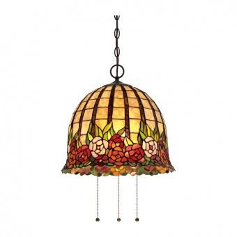стъклен полилей, imperial bronze, elstead lighting, ceiling lights, 3x100w, qz/rosecliffe/p