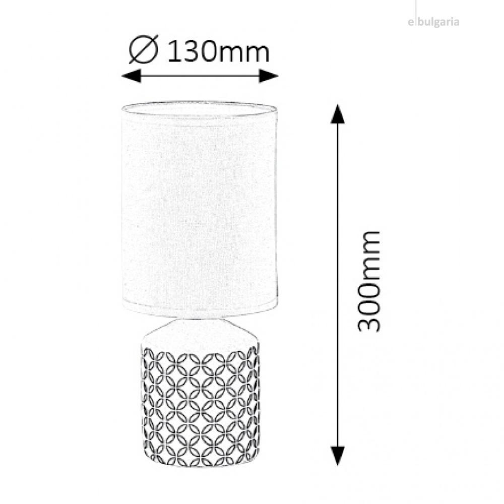 керамична настолна лампа, white pattern, rabalux, sophie, 1x40w, 4398