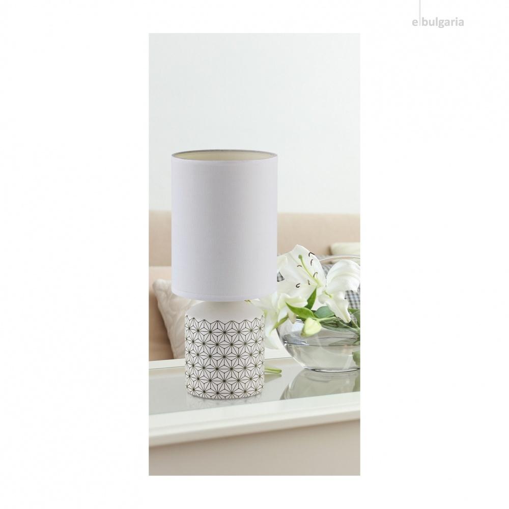 керамична настолна лампа, white pattern, rabalux, sophie, 1x40w, 4399