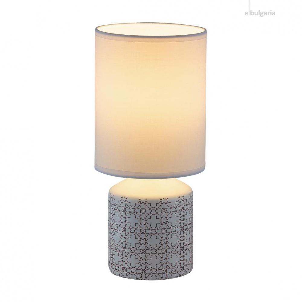 керамична настолна лампа, white pattern, rabalux, sophie, 1x40w, 4400