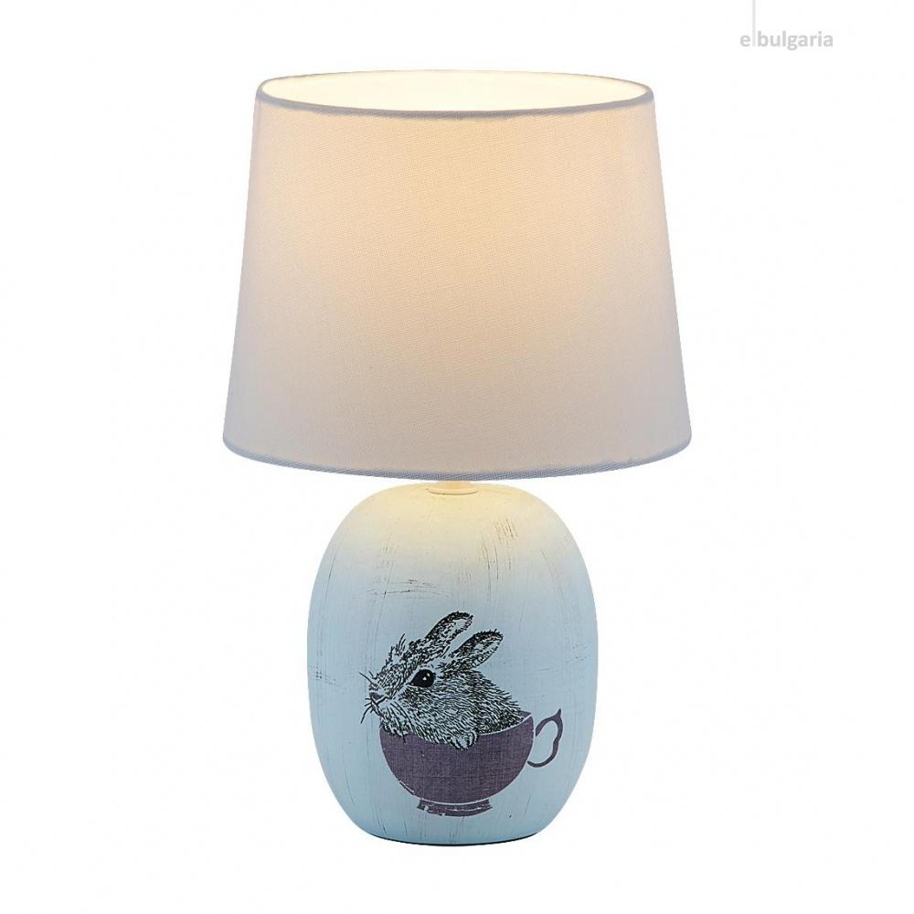 керамична настолна лампа, blue, rabalux, dorka, 1x40w, 4603
