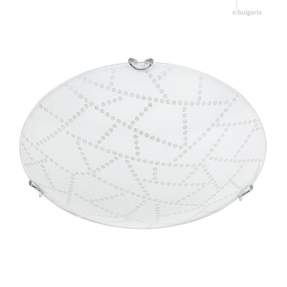 стъклен плафон, white pattern/chrome, rabalux, emory, led 12w, 3000k, 960lm, 3225
