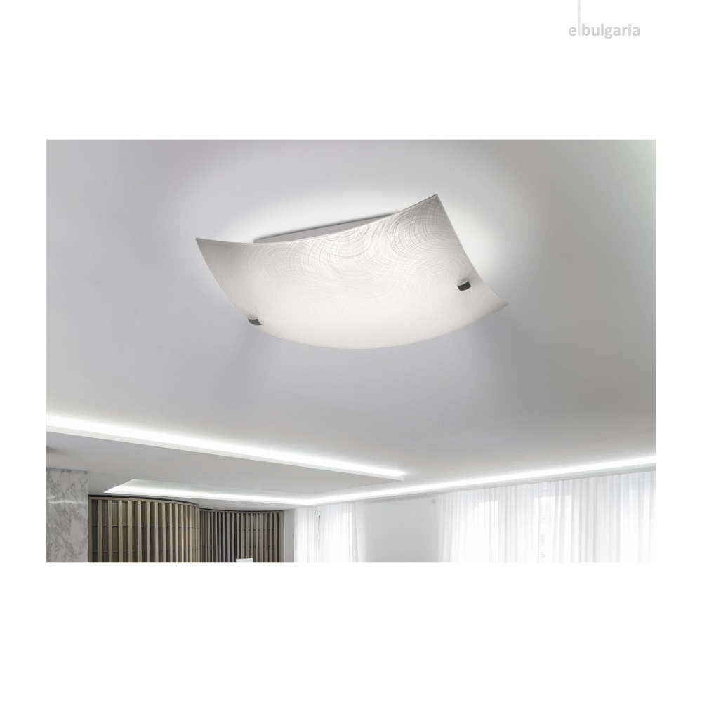 стъклен плафон, white pattern/chrome, rabalux, tanner, led 12w, 3000k, 960lm, 3232