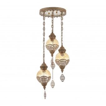 стъклен полилей, антично злато, elbulgaria, 3x40w, 1525/3 yg