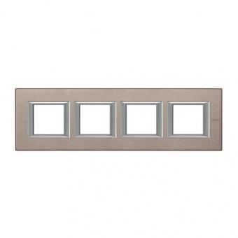 рамка четворна, brushed titanium, bticino, axolute, ha4802m4hnx