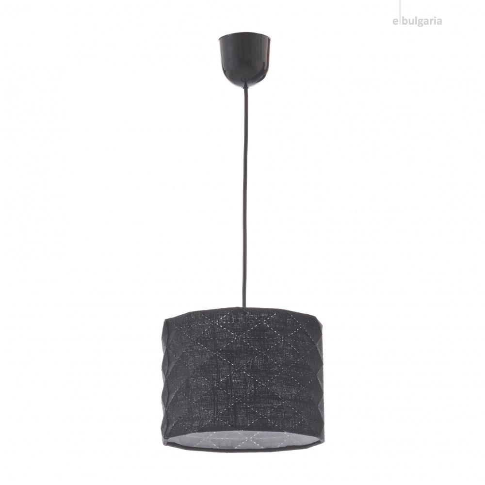 текстилен пендел, черен, elbulgaria, 1x40w, 1584s bk