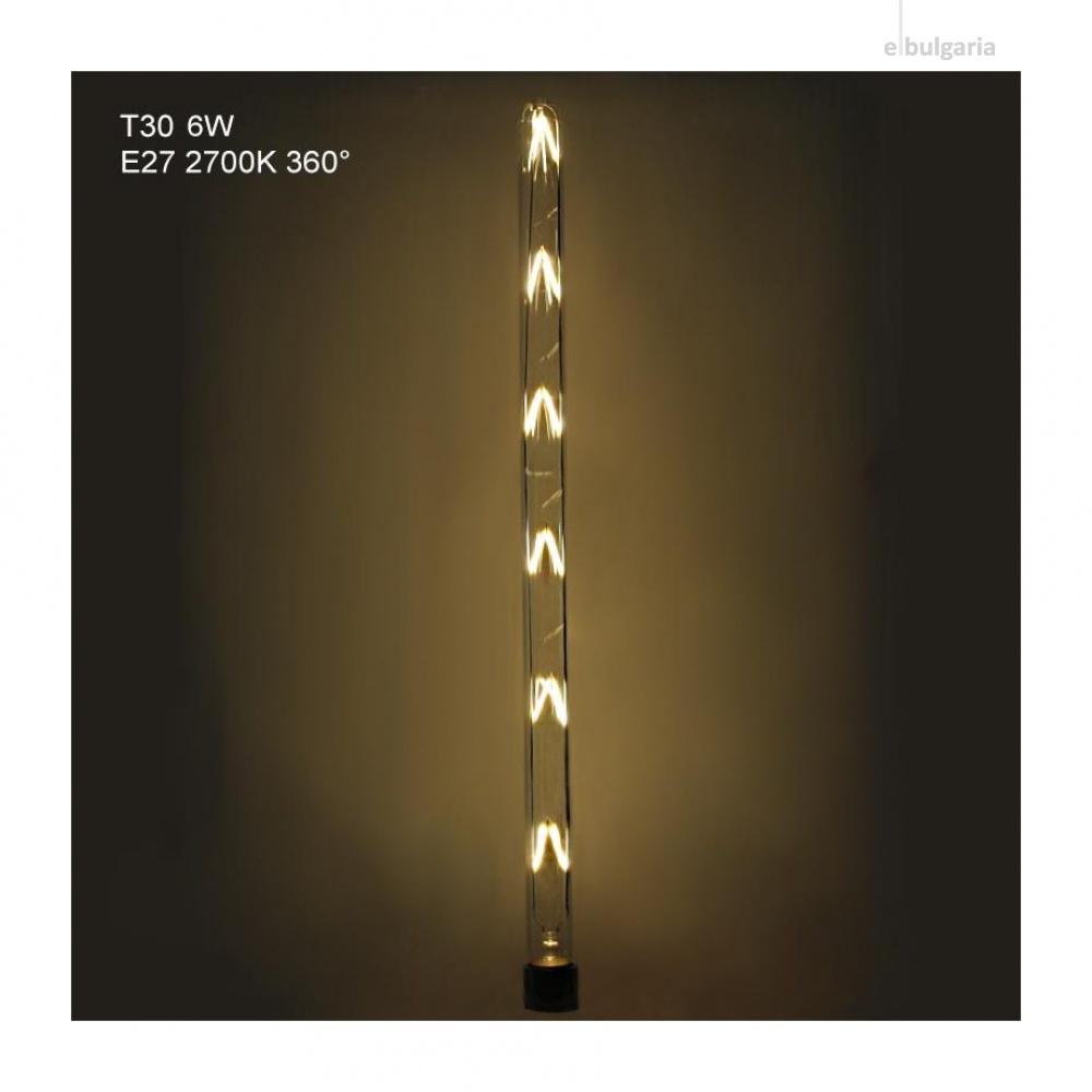 led лампа 12w, e27, топла светлина, 2700k, 1080lm, 300°, 600mm, led lamp filament 12w t30