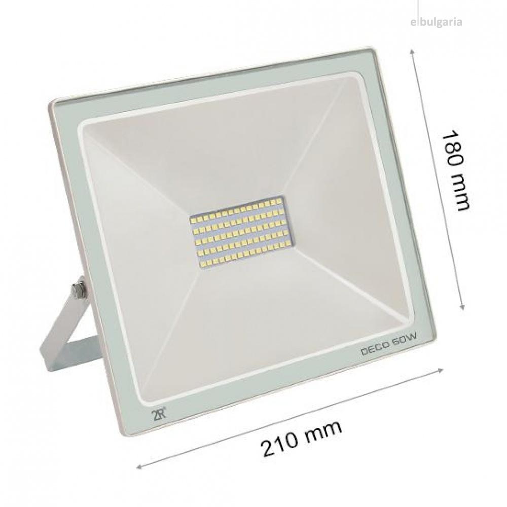 led метален прожектор, бял, deco, led 50w, 6000k, 5000lm, deco white