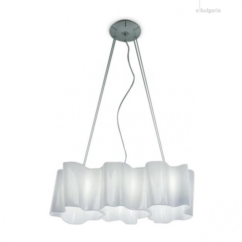 стъклен полилей, white, artemide, logico suspension 3 In linea, 3x116ww, 0455020a