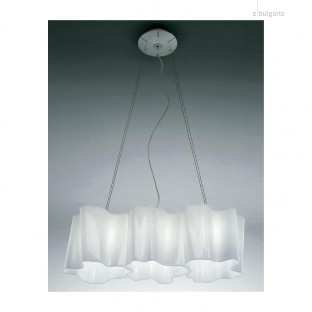 стъклен полилей, white, artemide, logico suspension 3 In linea, 3x116ww, 0455020a