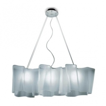 стъклен полилей, white, artemide, logico mini suspension 3 In linea, 3x77ww,  0697020a