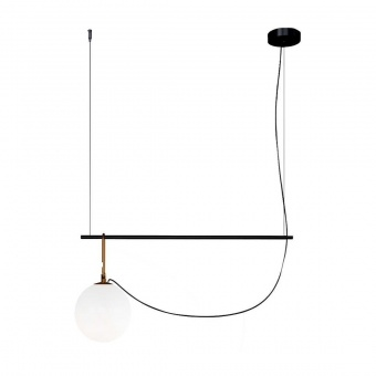 стъклен пендел, black/brass, artemide, nh S1 14, 1x5w, 1272010a