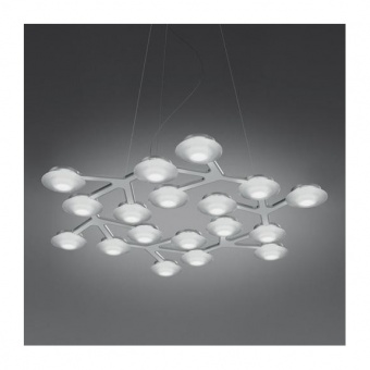 метален полилей, white, artemide, led net line suspension, 17x2.17w, 3000k, 2502lm, 1575050a