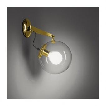 стъклен аплик, satin brass, artemide, miconos wall, 1x20w, a020110