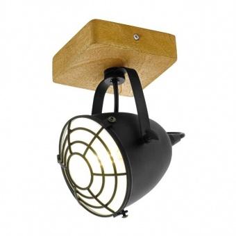 дървен спот, black, eglo, gatebeck, 1x40w, 49076