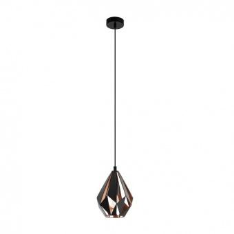 метален пендел, black/copper, eglo, carlton 1, 1x60w, 49997