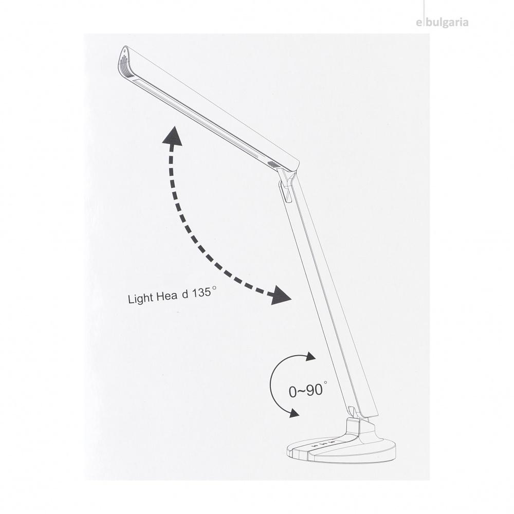 pvc настолна лампа, бял, elbulgaria, led 10w, 2700k-4000k-6000k, 1805 wh