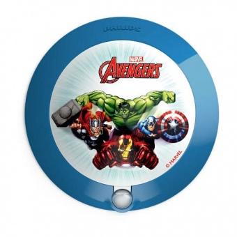 pvc аплик, blue, philips, avengers, led 1x0.06w, 5lm, 71765/35/p0