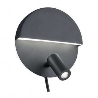 метален аплик, black, trio, mario, led 1x6w+1x2.3W, 3000k, 1x600+1x200lm, 222370232