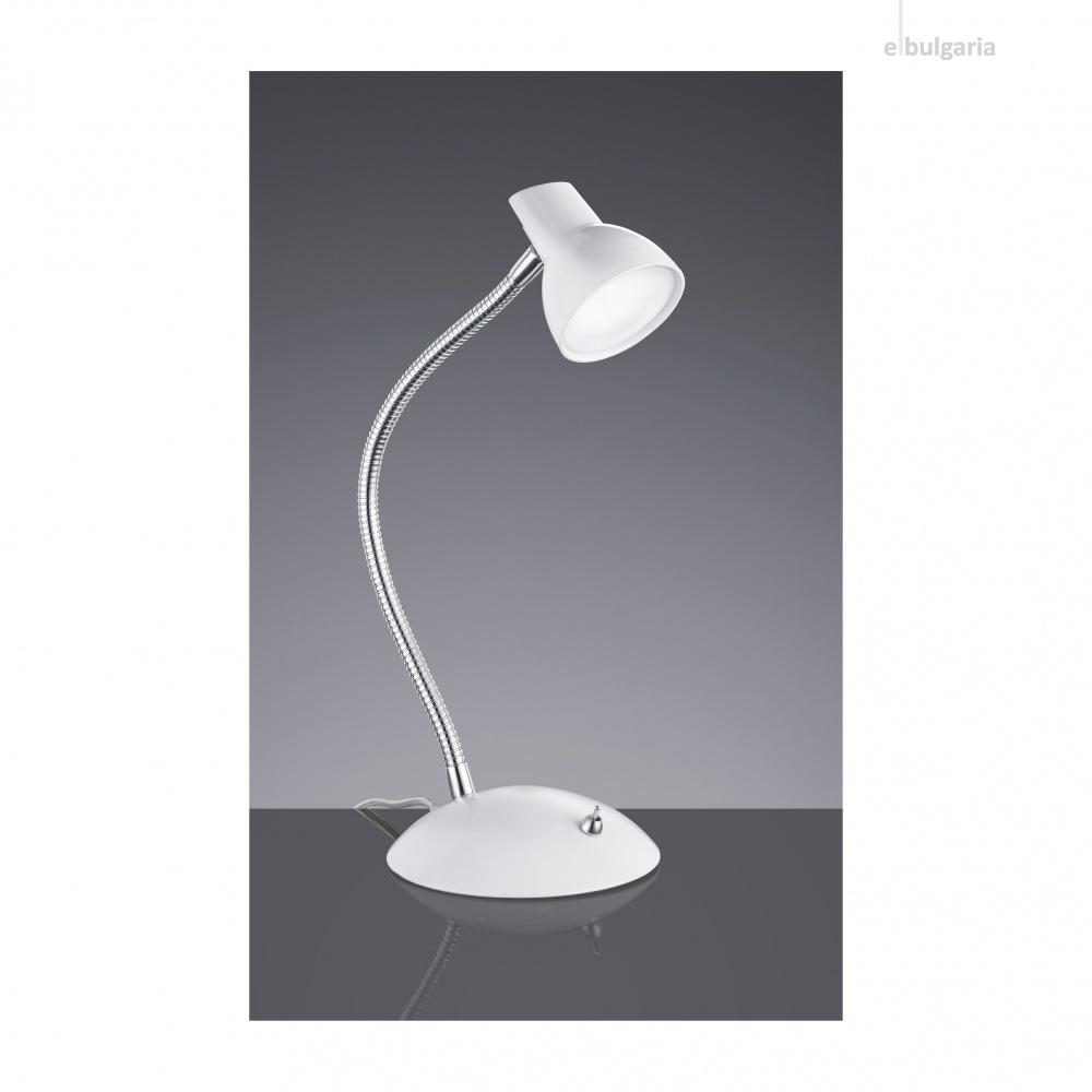 метална работна лампа, white, trio, kolibri, led 1x4.4w, 3000k, 1x450lm, 527810101